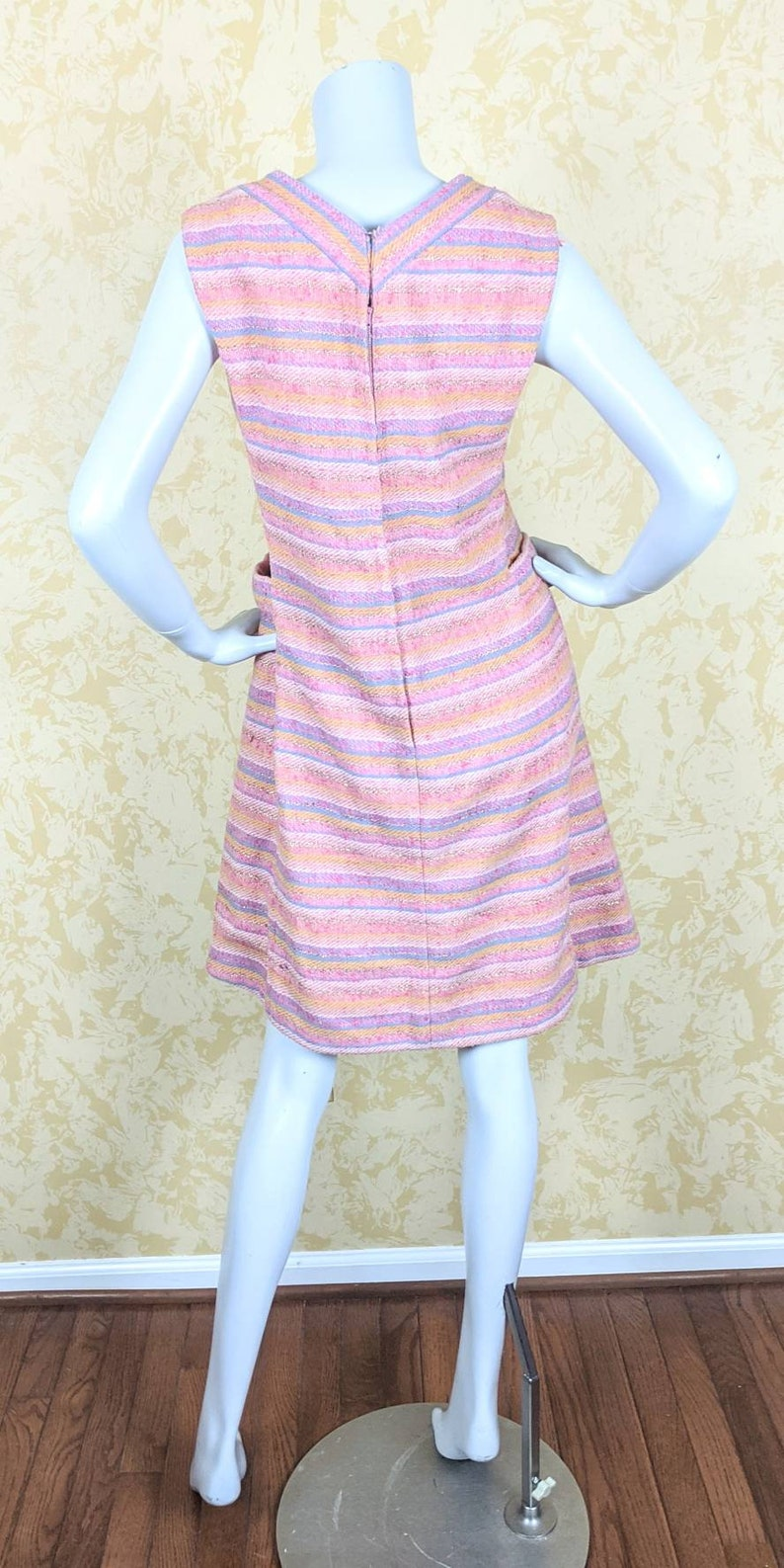 Couture Wool Striped Dress 1960/'s M.S