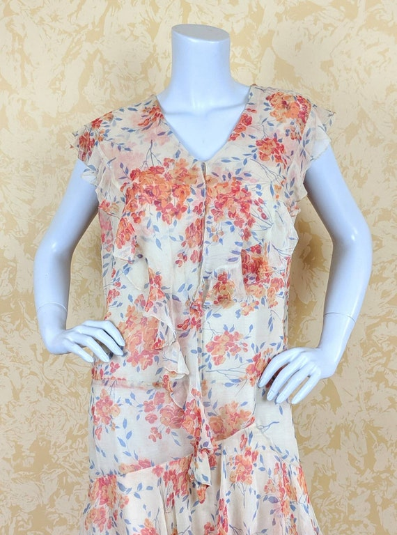 Authentic Volup 1920's Silk Chiffon Floral Print … - image 3