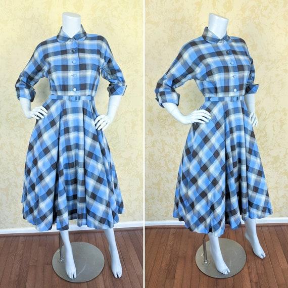 1950's Blue Plaid Cotton Dress