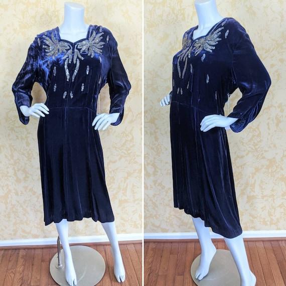 Volup 1940's Blue Silk Velvet Dress w/ Sequins