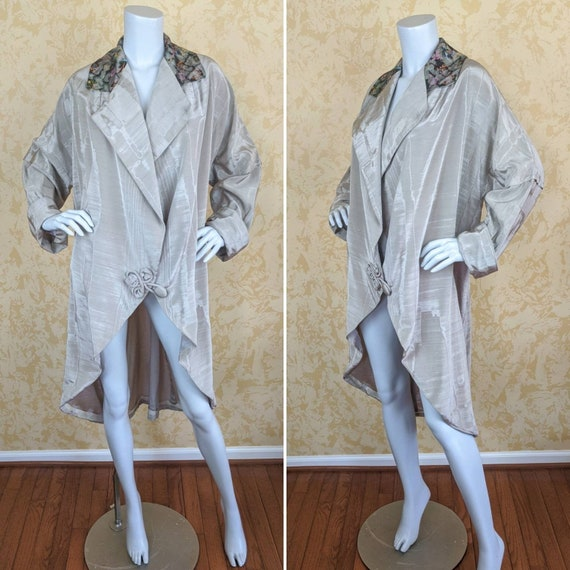 Fabulous Edwardian Gray Moire Taffeta Coat