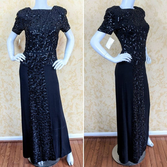 1940's Black Crepe Sequined Evening Gown