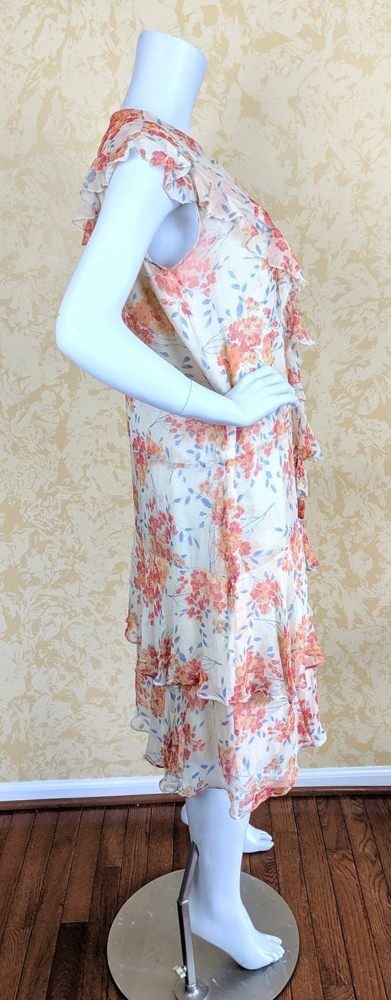 Authentic Volup 1920's Silk Chiffon Floral Print … - image 7