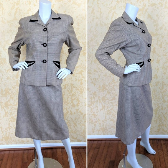 Classic 1940's Houndstooth Wool Suit