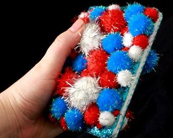 Sparkly Pom Pom Journal - Red White and Blue