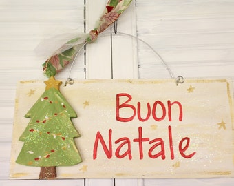 Christmas Tree Hand Painted Wood Sign