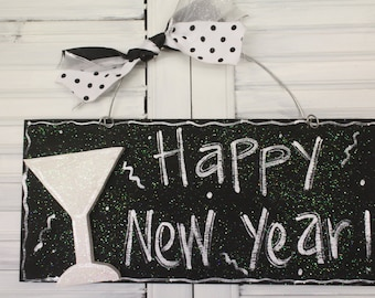 Happy New Year Hand Painted Wood Sign