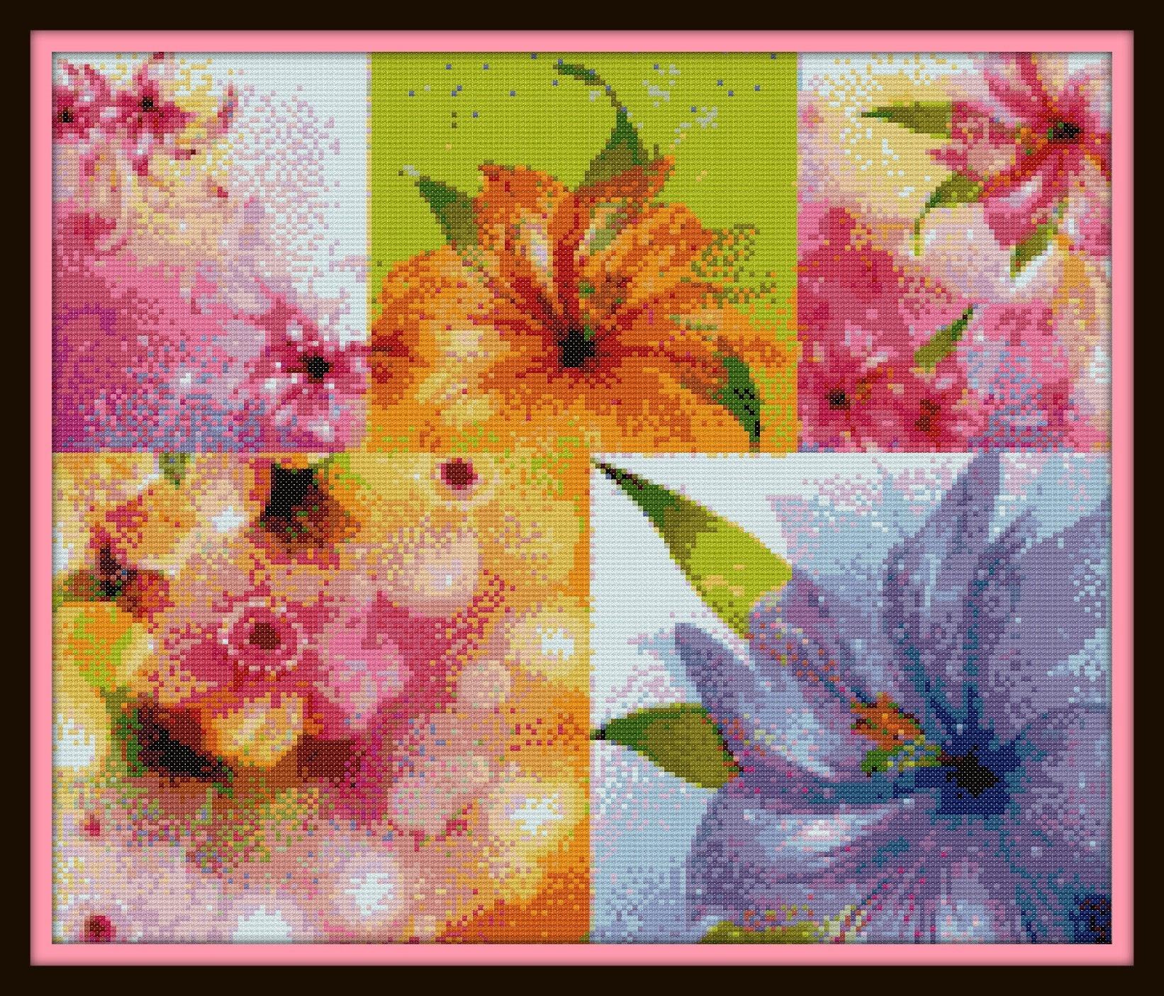 Multi Flower Cross Stitch Pattern Color Chart Dmc Floss Etsy