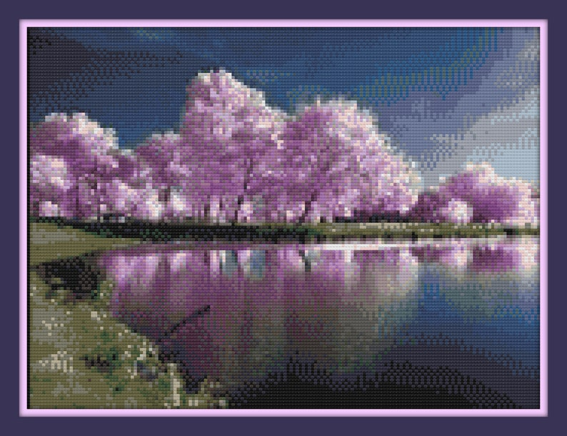 picture regarding Dmc Floss Color Chart Printable identified as Purple Trees in just Spring Cross Sch Routine-Coloration Chart -DMC Floss Chart - Floral Sequence - Particularly Print and Commence Sching!