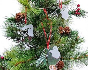 Acrylic Robin Christmas Tree Decorations - Mixed Set of 3 Robins - Christmas Decor - laser cut decorations