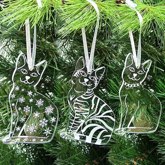 Acryl Katze Christbaumschmuck Weihnachten Katzen Gemischt Etsy