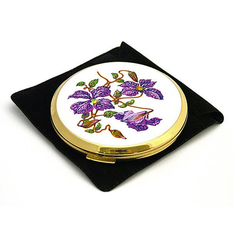 Vintage Stratton enamel powder compact Clematis purple flowers 1960 gold tone anniversary gift bridesmaid gift vanity gifts mothers day gift