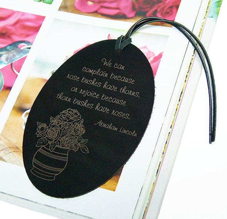 Leather Rose Bookmark Quote By Abraham Lincoln Rose Bushes Etsy