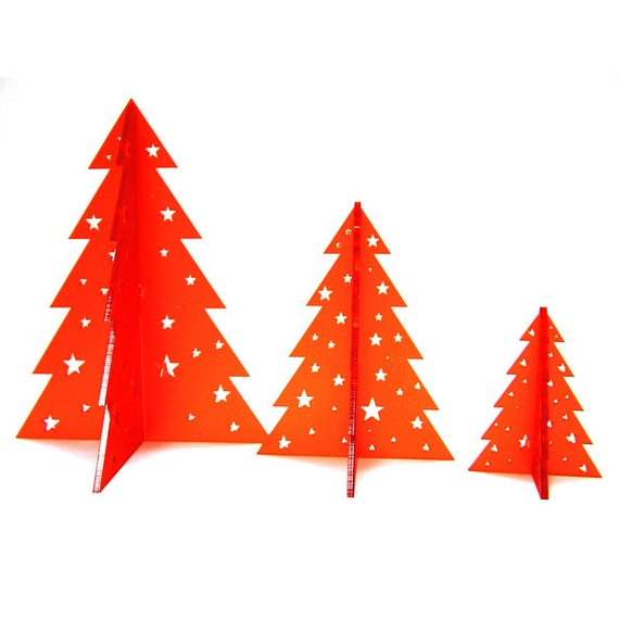 3D Christmas Tree Decorations , Festive Trees Set of 3 , Laser cut Acrylic  , Hand finished , Made in England Christmas decor
