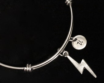 Lightning Bolt Charm Bracelet, Harry Potter Bangle Bracelet, Adjustable Bracelet, Stainless Steel Bracelet, Initial Bracelet qb19