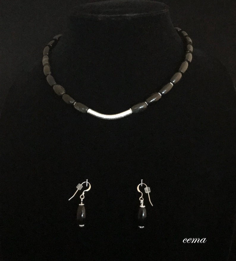 beautiful gold sheen obsidian beads with silver choker necklace and matching earrings Necklace and earring set