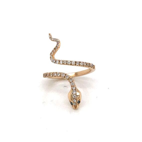 Vintage Diamond Snake Ring- 14k