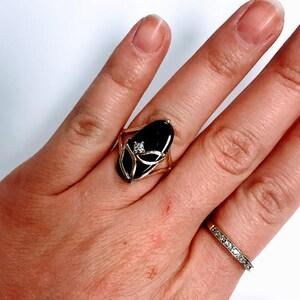 Vintage Round Shape Onyx Ring 925 Sterling RG 2467
