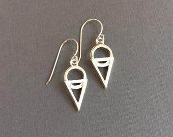 Summer Earrings, Sterling Silver Geometric Drop Earrings, Petite Silver Dangles, Dainty Geometric Drops, Ice Cream Cone Earrings