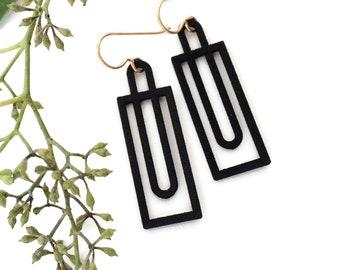 Rectangular Geometric Earrings, Black Minimal Earrings, Simple Modern Earrings, 3D Print Architectural Earrings, Rectangle Drops