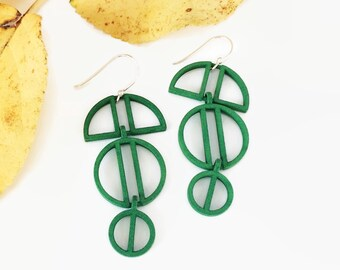 Green Statement Earrings, Ornamental Earrings, 3D Printed Dangles, Mother's Day Gift, Spring Earrings, Sundress Jewelry