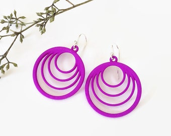 Purple Circle Statement Earrings, Modern Geometric Drop Earrings, 3D Printed Lightweight Earrings, Blue Spring Earrings
