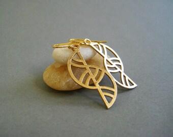 Art Deco Earrings, Geometric Wearable Art, Artisan Jewelry, Architectural Jewelry, Golden Bronze Earrings, 3D Printed Metal