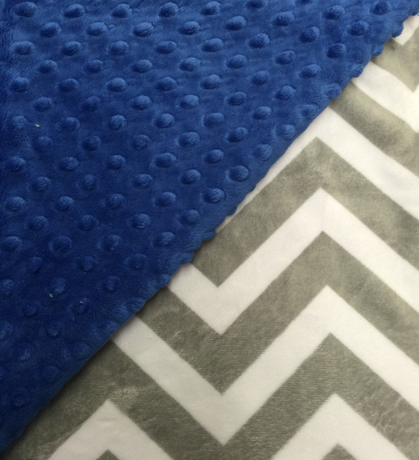 royal blue and gray and white chevron minky baby girl boy etsy. Black Bedroom Furniture Sets. Home Design Ideas