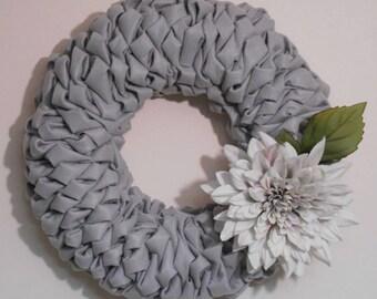 Grey Felt Bubble Wreath with Dahlia