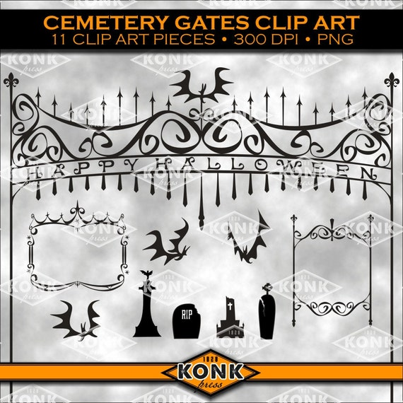 Black Silhouette Of Gothic Cemetery Gate. Isolated Drawing Of.. Royalty  Free Cliparts, Vectors, And Stock Illustration. Image 118979011.