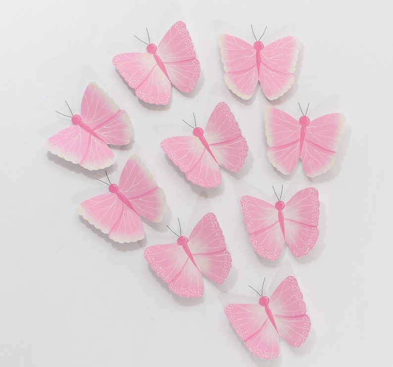 3d Butterfly Wall Art Pink Wall Butterflies For Girls Room Etsy