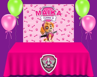 Skye Birthday Vinyl Backdrop Custom Party Favors