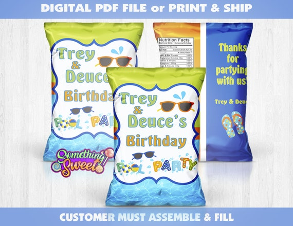 Custom Pool Party Chip Bags Filled