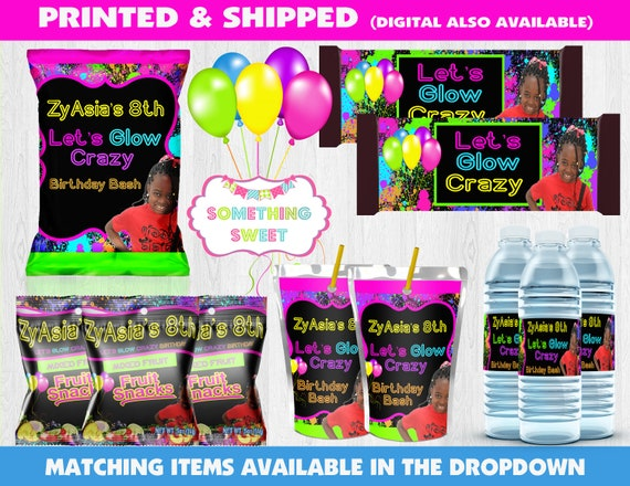 475006433 Glow Neon Birthday Party - Glow Birthday - Glow Juice -Glow Party Chip Bag  - Custom Party Favors - Glow Theme Party Favors