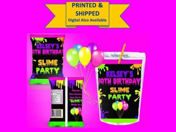 Slime Birthday Party Neon Slime Party Slime Chip Bags