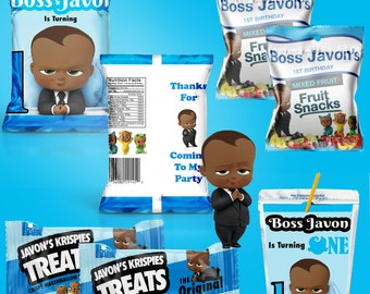 African American Boss Baby Party Theme DIY Printable Templates - PDF ONLY - Chip Bag Templates - Digital - Custom Party Favors - Templates