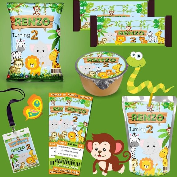 graphic regarding All That and a Bag of Chips Printable named Jungle Safari Printable Celebration Favors, Safari Chip Baggage