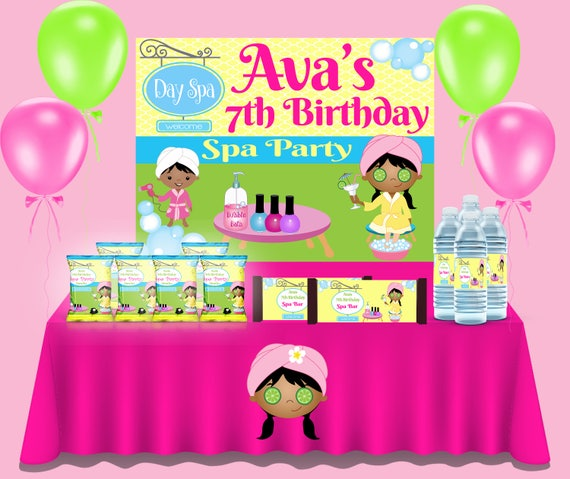 7f5263a0b Spa Birthday Party - PRINTED & SHIPPED - Juice Labels - Chip Bags - Custom  Spa Party - Spa Theme - Custom Party Favors -Spa Treats - Spa