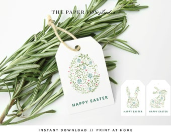 Printable Floral Easter Gift Tags, Download & Print Modern Easter Egg Hunt Party Décor, Print at Home Easter Décor Favor Tags, 7001