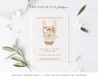 Printable Fairy Bunny Birthday Invitation, Editable Modern Fairies & Bunnies Invite, Floral Somebunny Special Party Invitation, 0121