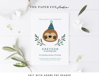Printable Sloth with Party Hat Birthday Invitation, Editable Modern Party Animal Invite, Boys Sloth Party Invitation, Wild One Invite, 0120