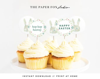 Printable Floral Easter Cupcake Toppers, Download & Print Modern Easter Cupcake Décor, Print at Home Easter Décor Party Circles, 7001