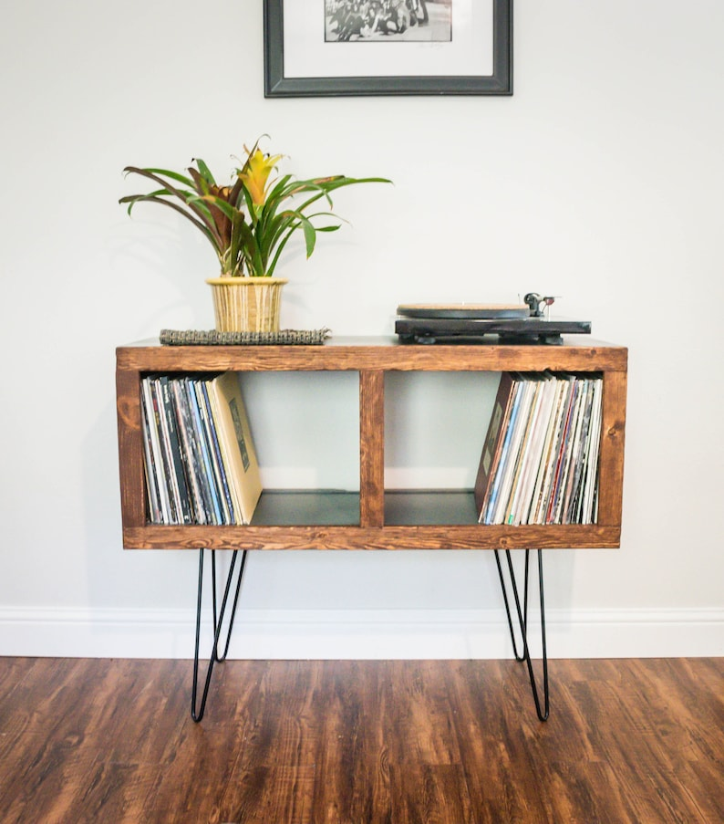Mid-Century Modern Rustic Media Console & Vinyl Storage image 1