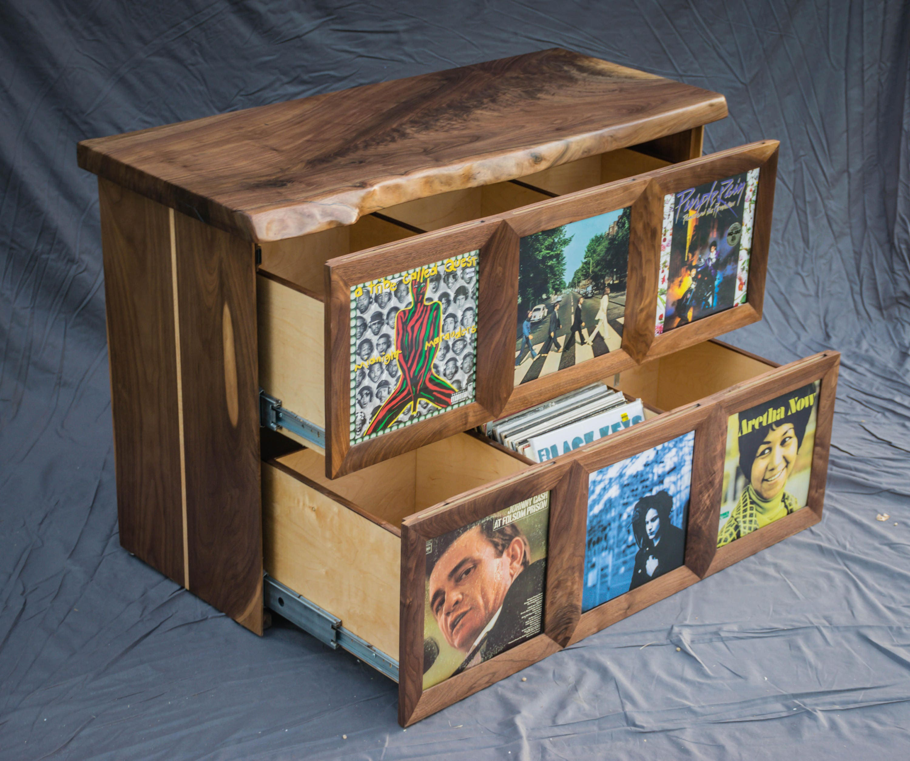 Record player stand with vinyl record storage by ...  |Record Player Display