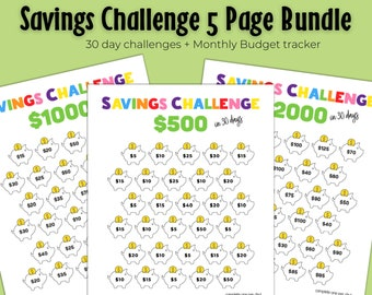 The Best Savings Challenge Bundle | Includes Monthly Budget Planner | Printable | Instant Download