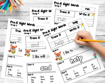 Teach Young Children How to Read with Dolch Sight Words Pre-K Set of 40 Words | Instant Download