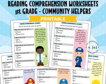 Grade 1 / 2 Reading Comprehension Worksheets feature Community Helpers | Printable | Instant Download
