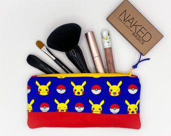 Pokemon Handmade Flat Zipper Pencil / Makeup Pouch, Fully lined with Easy Clean Ripstop