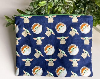 Handmade Flat Zipper Makeup Pouch, Fully Lined, 100% Cotton - Choose Your Fabric