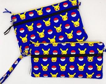 Pokemon Nintendo Switch Case | Double Zipper Pouch | Plush Padded Lining | Handmade | Handheld Gaming Unit Storage & Travel Carrying Case